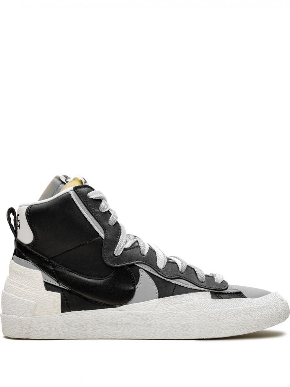 Femme Baskets Montantes Sacai X Nike Blazer Mid Black/Wolf Grey-White | Baskets Nike - Angelic Claws